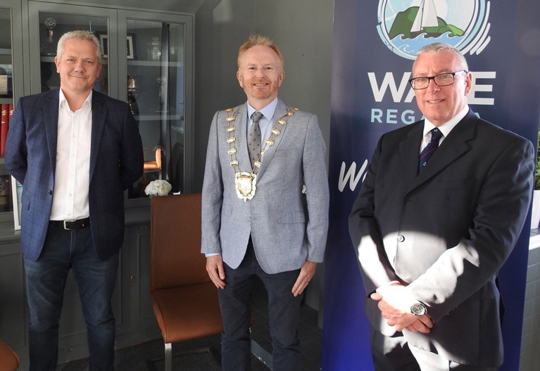 WAVE Regatta 2020 is launched: ICRA Commodore Richard Colwell, Fingal Mayor David Healy and HYC Commodore Ian Byrne