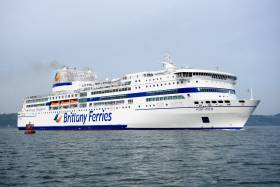 Sporting the new Brittany Ferries livery is flagship Pont-Aven when in Cork Harbour before technical issues began to beset the cruiseferry as sailings once again are cancelled on the Cork-Roscoff route next weekend (Sat. 1 June)