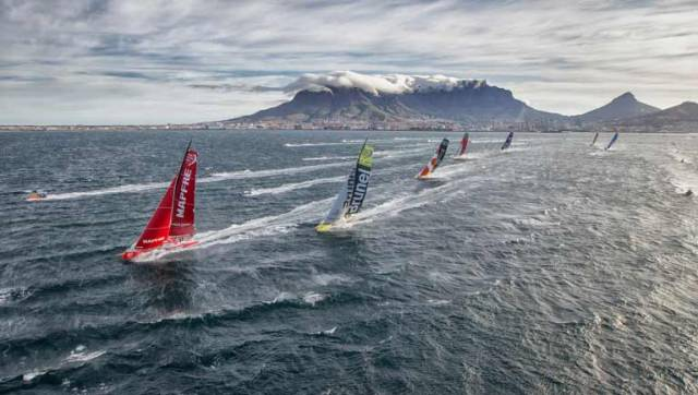 The VOR fleet at the start of Leg 2 from Cape Town to Abu Dhabi