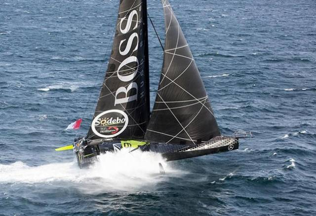 Alex Thomson – who spent five years of his childhood in Crosshaven – at full speed in Hugo Boss. He is expected to finish the Vendee Globe next Wednesday night/Thursday morning in Les Sables d'Olonne, and is challenging Banque Populaire VIII for the lead despite losing the starboard foil – seen activated in this photo – at an early stage of the race.