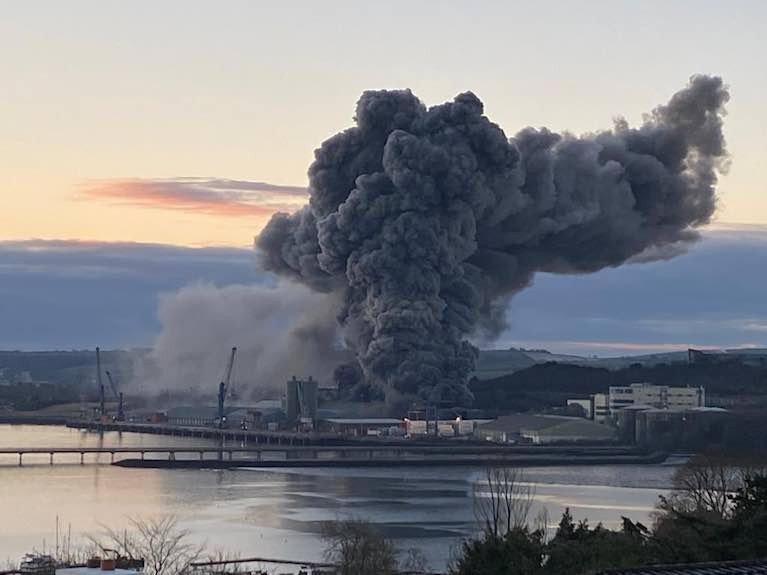 Port of Cork fire - It is understood the fire broke out earlier in a large silo used for the storage of animal feed