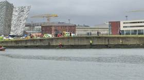A still from video of the scene at Belfast's Victoria Channel on Saturday afternoon