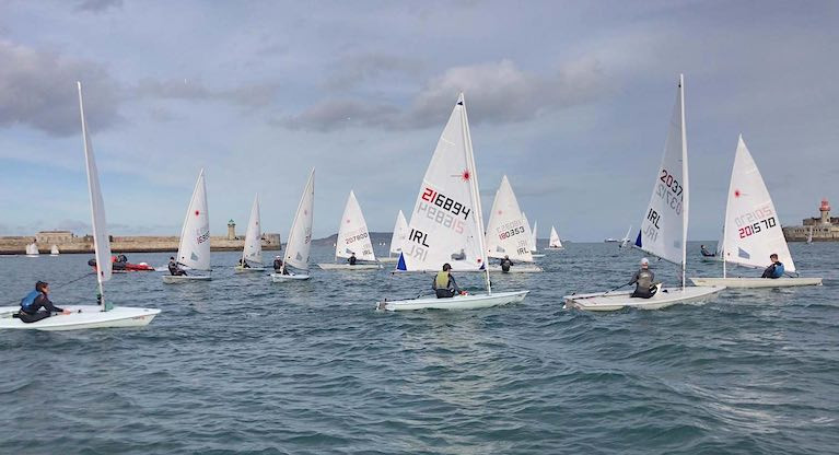 Dun Laoghaire Laser sailors racing inside the town's harbour in 2020