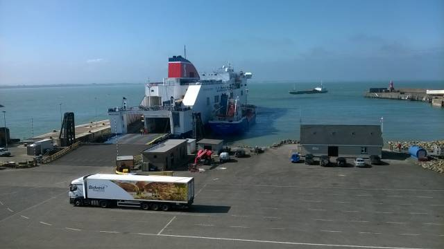 A scene at Rosslare Europort yesterday as Stena Horizon is taking bunkers from tanker Mersey Spirit while cargoship Ayress arrives from Ayr, Scotland