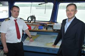 Master of the Stena Europe, Richard Cleary and Ian Davies, Stena Line's Trade Director, Irish Sea South. They are pictured on the bridge of Stena Europe that operates the new Rosslare – Fishguard route timetable that began this week