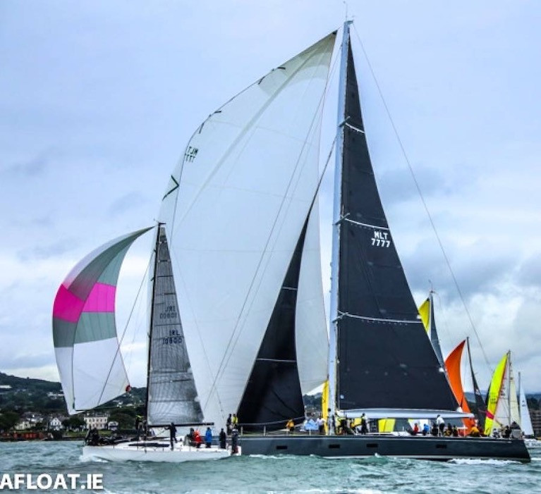 The National YC's biennial Volvo Dun Laoghaire to Dingle Race, currently scheduled for June 9th 2021, could become symbolic of the emergence from pandemic. The start of 2019's race shows overall winner Paul O'Higgin's JPK 10.80 Rockabill VI (left) showing briefly ahead of Mick Cotter's 94ft line honours winner and new course record-setter Windfall
