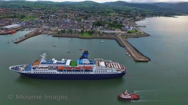 Cruise market potential highlighted for tourism market in district on Carlingford Lough. Afloat adds above is the small cruiseship Saga Pearl II (449 passengers) which has called to the Co. Down port in recent years.