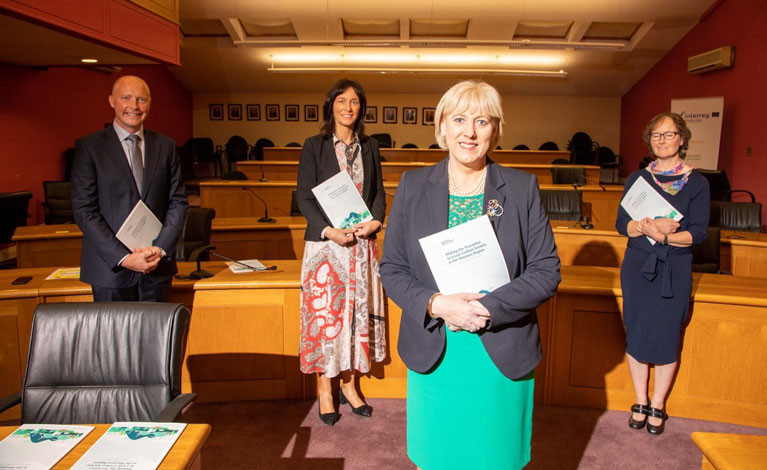 Dr Deirdre Garvey, Chair of the Western Development Commission, Tomás-Ó-Síocháin CEO of the Western Development Commission, Dr-Helen McHenry, WDC and author of the report, Minister for rural development, Heather Humphreys