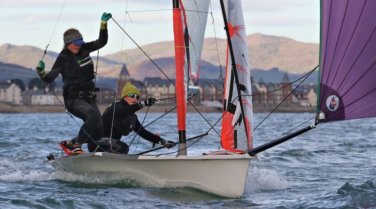 Lauren McDowell (helm) and Erin McIlwaine in the 29er training at Newcastle Co Down are among the Mary Peters Trust awardees