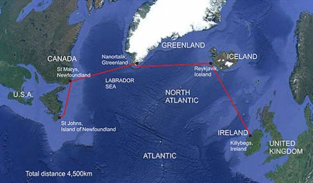 The proposed west-east route for Thunder Child II's Transatlantic Challenge in 2020