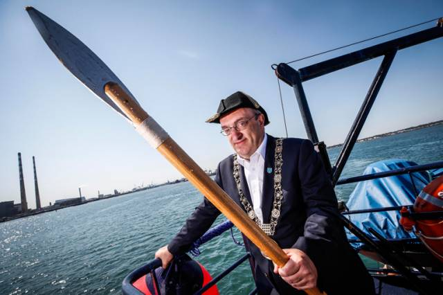 Pictured at the annual Casting of the Spear re-enactment was Lord Mayor of Dublin and newly invested Honorary Admiral of Dublin Port, Mícheál Mac Donncha. The Casting of the Spear is a maritime tradition to commemorate the setting of the city's boundaries dating back to 1488