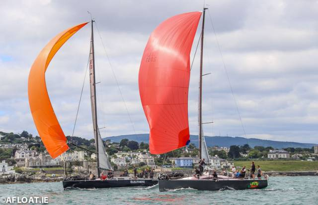 Frank Whelan's Eleuthera (left) from Greystones Sailing Club maintains the overall lead of the six-boat Class Zero fleet. She is pictured above with the Ker 37 Jump Juice, (Conor Phelan) currently in fifth place overall