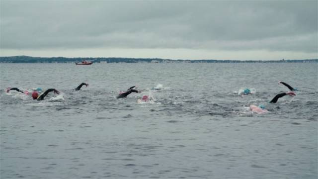 Swimmers crossing Galway Bay for the annual charity swim on Saturday 23 July