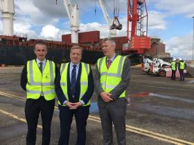 At the Port of Foynes is pictured: Mark Cullen, Assistant CEO of the HSA, Pat Breen, Minister of State for Trade, Employment, Business, EU Digital Single Market and Data Protection and Pat Keating, CEO of Shannon Foynes Port Company, who were on hand recently to see the quality health and safety standards in operation at the port.