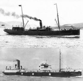The pair of cargoship steamers S.S. Hare (top) and S.S. Adela (bottom) that were attacked in separate incidents by German submarine U-Boats a century ago that led to the combined loss of 36 crew. A joint commemorative public plaques unveiling ceremony for descendants of the victims takes place this Saturday, 30 Sept (13.00hrs) at Custom House Quay, Dublin.