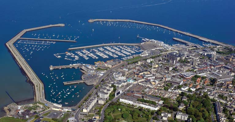 A vew from the west looking at Dun Laoghaire town and its harbour