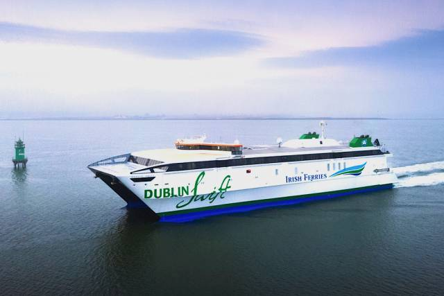 Fast ferry Dublin Swift which operates a seasonal only service on the Dublin-Holyhead route is accompanied by conventional tonnage that sail year-round.