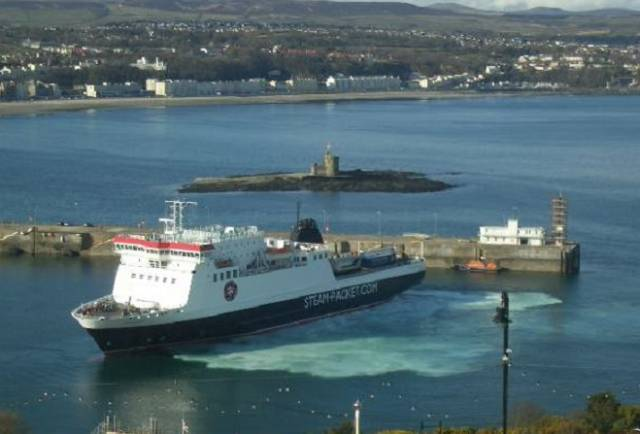 Deal to safeguard 'strategic sea services. Above: Afloat adds the Isle of Man Steam Packet's ropax Ben-My-Chree is seen swinging within Douglas Harbour.