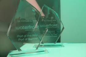 The Irish Sea Port of Barrow in Cumbria, north-west England wins a trophy for the UK Port of the Year Award held in London