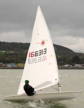 Ronan Wallace competing in the first races of Howth Yacht Club's Spring Laser Series