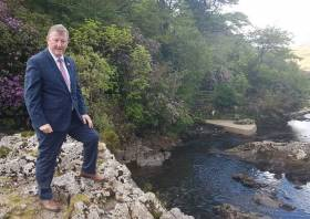 Sean Canney, Minister of State with responsibility for the inland fisheries resource, at the River Erriff which is the National Salmonid Index Catchment