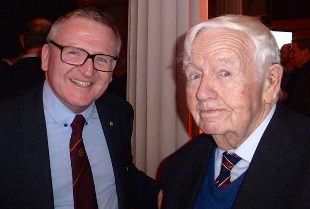A meeting of true minds. Stephen Tudor of Pwllheli, Irish Sea Offshore Champion 2016 (left), with Ted Crosbie, Royal Cork YC Admiral 1984-86 and winner of the Helmsman Championship of Ireland in 1950, at the Volvo Sailor of the Year celebrations in Dublin on Friday night. SCroll down for a full gallery by Inpho photography