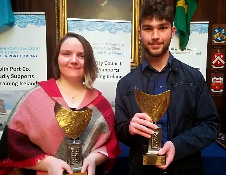 Outstanding trainees - (from left to right) Erin Englishby, Colaiste na Hinse & Ronan Collins, St. Joeseph's C.B.S.