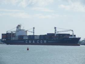 Departing Dublin is Nicolas Delmas which since introduction last month has contributed to CMA-CGM's doubling of container capacity of its West Coast feeder service via Liverpool2