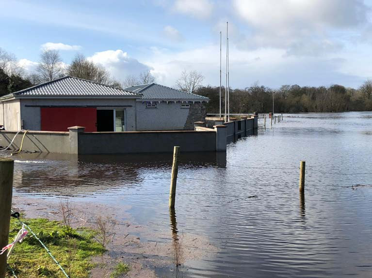 Castleconnell Boat Club in the flood