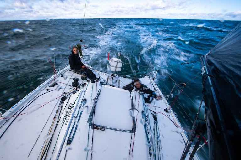 Speeding into the long October night – Cat Hunt and Pam Lee getting the performance from their Figaro 3 Iarracht Maigeanta. They could be nearing the coast of Connacht by midnight