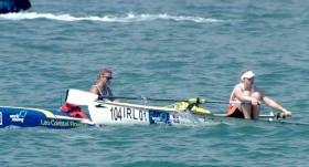 Sionna Healy (right) in action at the World Coastal Rowing Championships in Hong Kong. Scroll down for highlights video