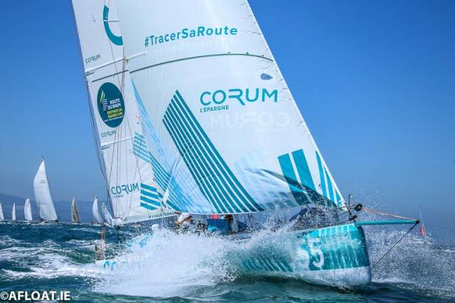 Nicolas Troussel sailing his Class 40 Corum in the 2018 Round Ireland race off Wicklow in July. No single ocean race has seen so many entries in one class as next month's Route du Rhum Class 40 fleet in which Troussel's Corum is a front-runner