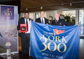 Colin Morehead, chair of Cork300; HSH Prince Albert II; and Pat Farnan, Admiral of the Royal Cork Yacht Club
