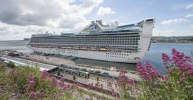 The cruise ship Caribbean Princess berthed in Cobh, Cork Harbour, which AFLOAT adds is of the Italian built 'Grand' class first introduced in 1988. As the Echolive reports, there is growing concern worldwide about the impact large cruise ships have on the environment.