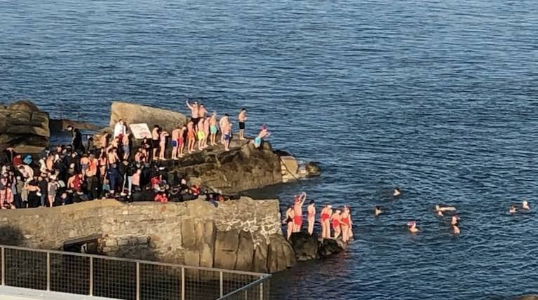 The Forty Foot on Dublin Bay is a popular swim spot on Christmas Day