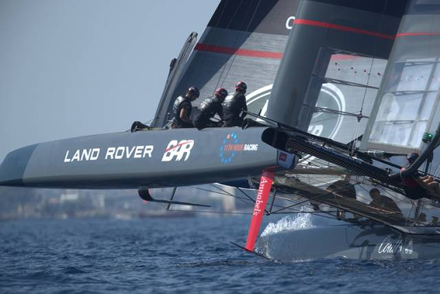 Land Rover BAR competing at the Louis Vuitton America's Cup World Series Toulon Super Sunday