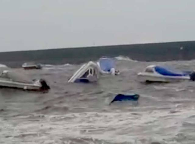 Boats Wrecked in Bray Harbour, County Wicklow (Video)