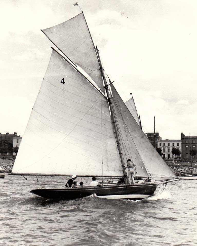 The Dublin Bay 21 Garavogue in Dun Laoghaire Harbour. During the 1930s, she was owned and raced by Lord Glenavy with his crew including his son, the writer Patrick Campbell