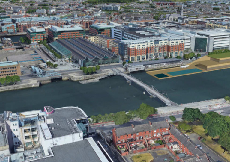 An artist's impression of the floating pool (right) separated by the Sean O'Casey Bridge from George's Dock (left)