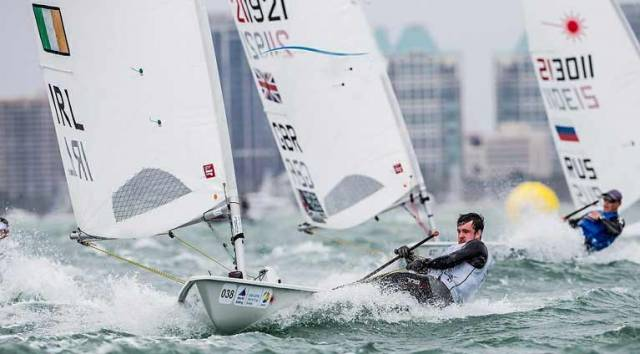 Finn Lynch racing in Miami in January. His main focus this season will be Olympic Qualification at the World Sailing Championships in Aarhaus in August