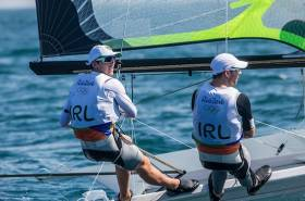 Ryan Seaton and Matt McGovern race for Ireland in the 49er medal race today
