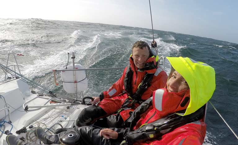 New team - Kenny Rumball and Pam Lee on the two day 317nm spin from Port La Floret to Dun Laoghaire