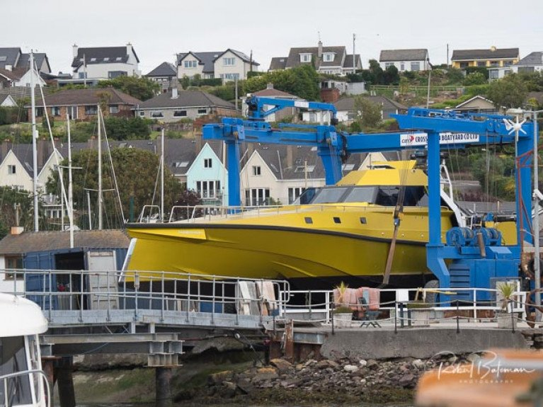 Thunderchild II on the hoist at Crosshaven Boatyard this week; a planned 2020 transatlantic record bid is now on hold