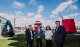 Pictured (L- R) is James Eyre, commercial director of Titanic Quarter Ltd,  Councillor Peter McReynolds, the Deputy Lord Mayor of Belfast, Kerrie Sweeney, chief executive of Titanic Foundation and Mark O'Donnell from the Department for Communities