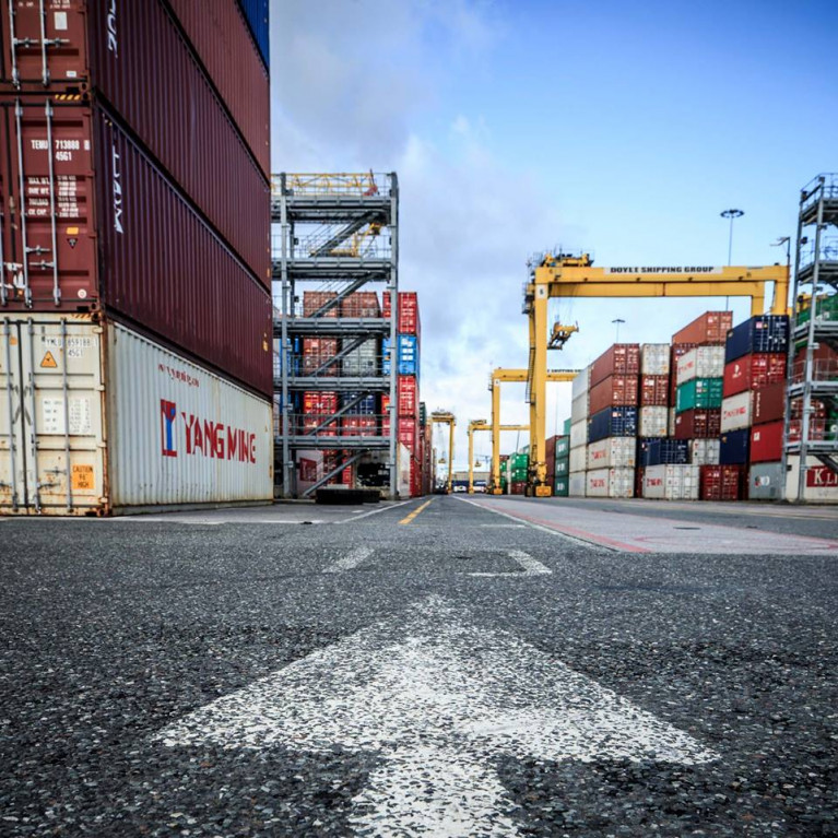 Ireland facing potential tariffs of up to €1.7 billion on exports to the UK. A container terminal in Dublin Port.