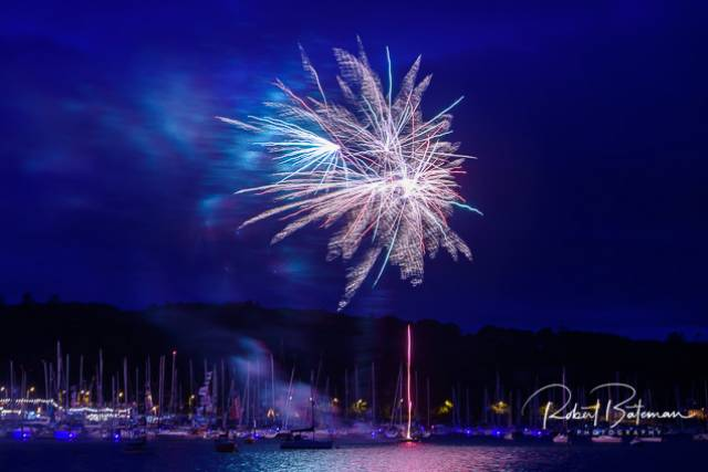 Fireworks over Royal Cork Yacht Club celebrate the conclusion of Cork Week 2018