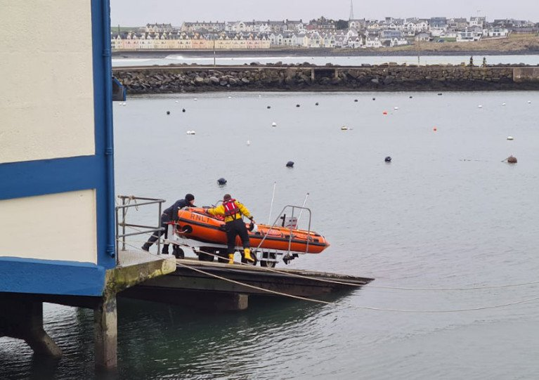 Portrush RNLI's inshore lifeboat being put into the water