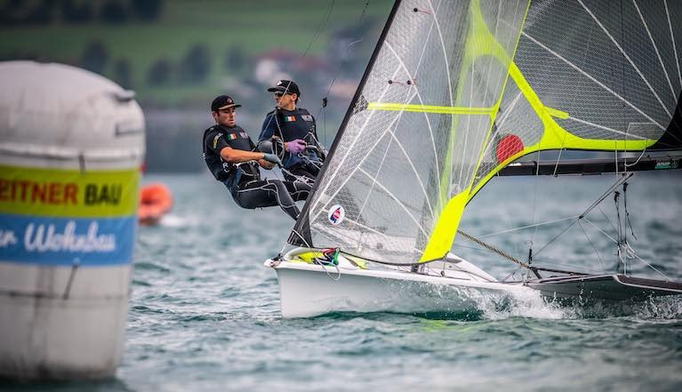 Ryan Seaton (right) from Ballyholme Yacht Club competing with Seafra Guilfoyle in Austria