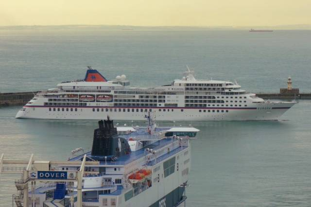 Among the finalists in the first ever Maritime UK Awards to be held during the Southampton Boat Show will be the Port of Dover, the UK's busiest ferry port. AFLOAT adds above is a DFDS ferry serving Calais/Dunkerque and cruiseship of Hapag Lloyd, Europa. Noting beyond the Strait of Dover is the coastline of France.