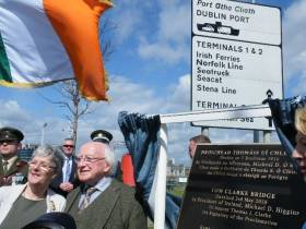 President Michael D Higgins today unveiled a plaque to 'Tom Clarke Bridge' officially the name of Dublin's East-Link toll-lift bridge, the last bridge before the sea